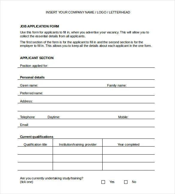 free generic job application template