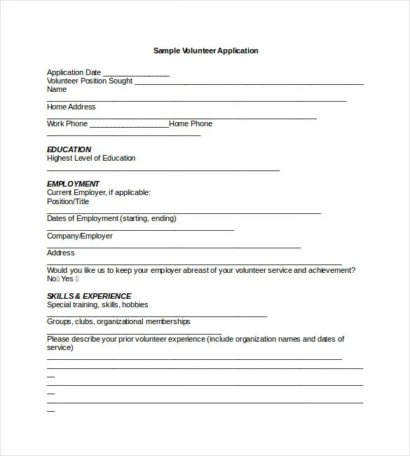 Application Templates \u2013 20+ Free Word, Excel, PDF Documents Download - school volunteer form template