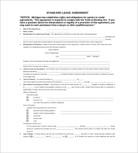 Lease Template u2013 18+ Free Word, Excel, PDF Documents Download - standard lease agreement template