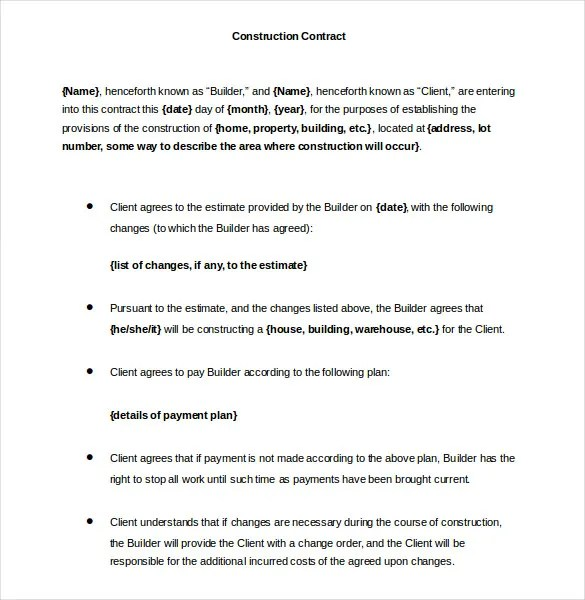 Sample Construction Contract Template Legal Construction Contract - free construction contracts
