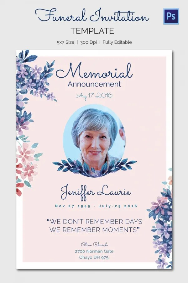 funeral cards template - thebridgesummit - funeral announcement sample