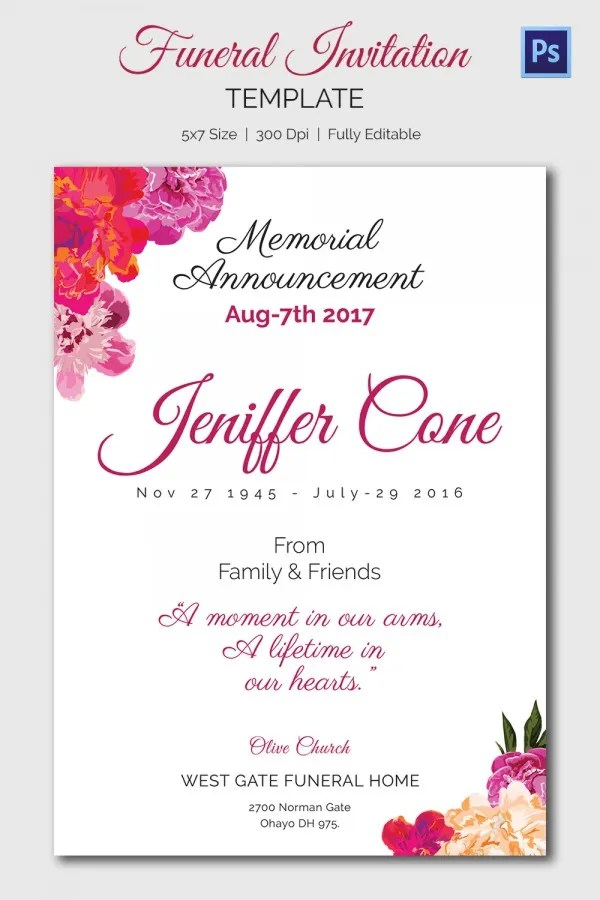 free funeral invitation template - Mucotadkanews