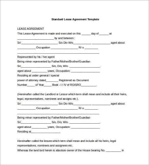 It Support Contract Template Free Standard Lease Agreement - agreement form doc