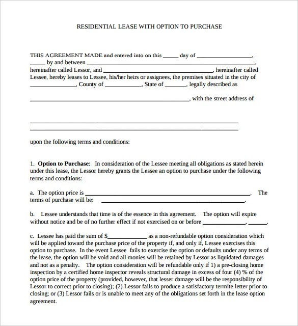 Agreement Template u2013 27+ Free Word, PDF Documents Download! Free - rent with option to buy contract