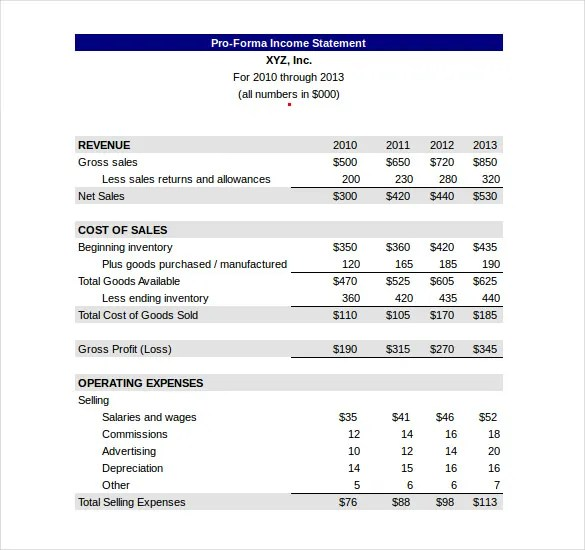 Sample Income Statement Format Sample Income Statement Free Income