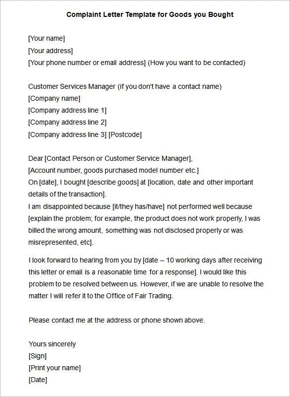 Complaint Letter \u2013 10+ Free Word, PDF Format Download! Free