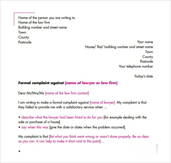 Complaint Letter \u2013 10+ Free Word, PDF Format Download! Free - complaint letters template
