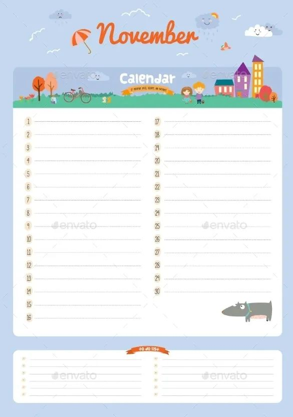 month calendar blank