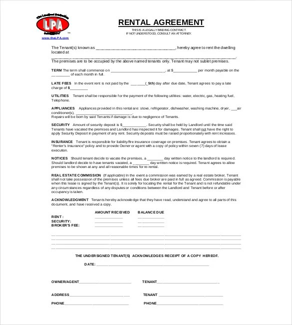Rental Contract Template 8+ House Rental Contract Forms - Free - rent contract templates