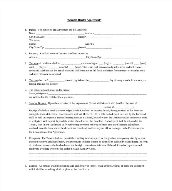 Rental Agreement Template u2013 24+ Free Word, Excel, PDF Documents - free tenant agreement