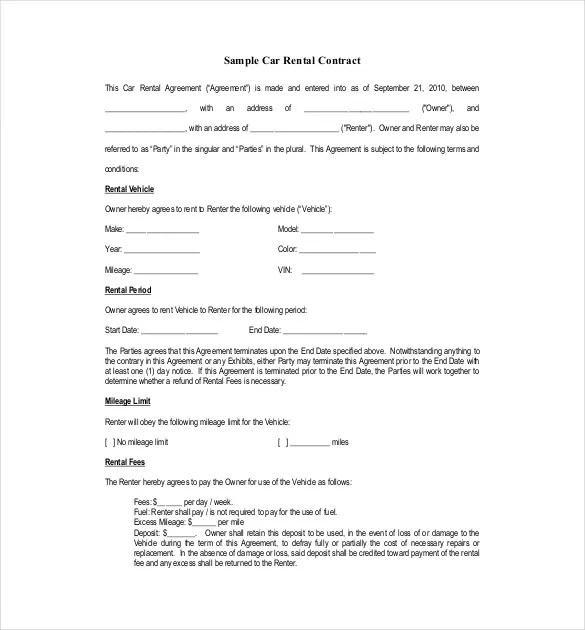 Rental Agreement Template u2013 24+ Free Word, Excel, PDF Documents - private car sale contract payments