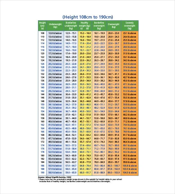 Height Weight Chart Template u2013 12+ Free Word, Excel, PDF Format - bmi chart template