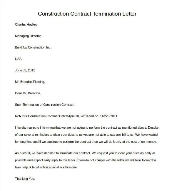Cleaning Contract Template Contractstore Contract Termination Letter Template 17 Free Sample