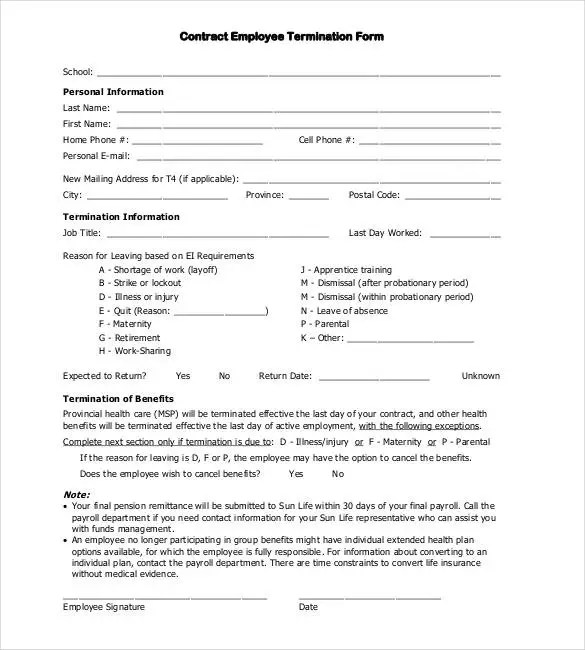 Contract Termination Letter Template - 17+ Free Sample, Example - employee termination form