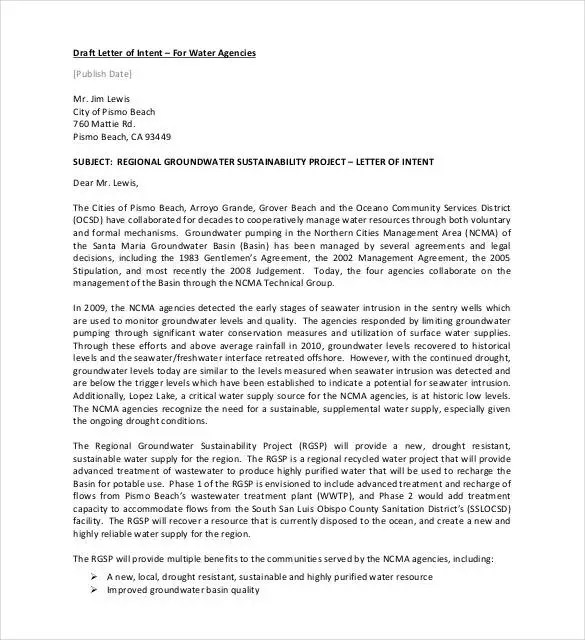27+ Simple Letter of Intent Templates - PDF, DOC Free  Premium
