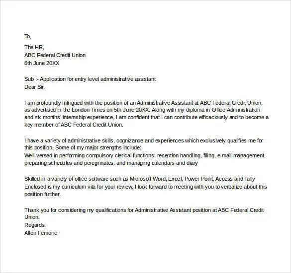 office cover letter templates