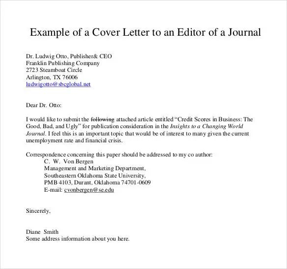 how to write cover letter for journal
