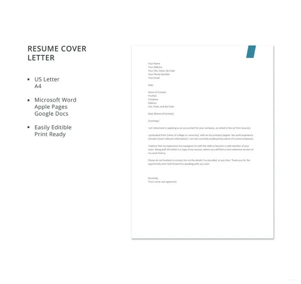 17+ Resume Cover Letter Templates \u2013 Free Sample, Example, Format