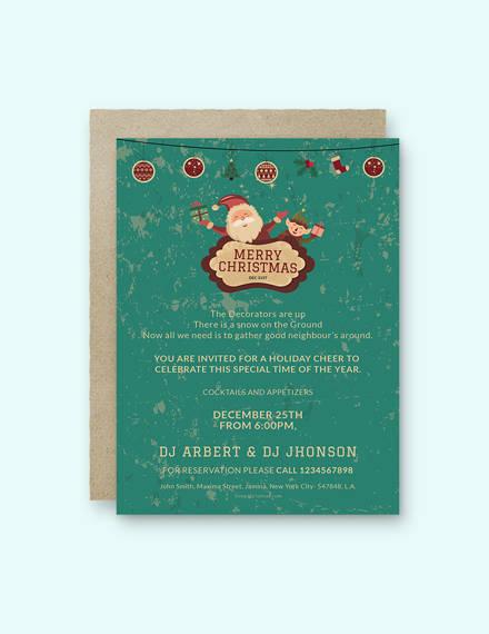32+ Christmas Invitation Templates - PSD, AI, Word Free  Premium