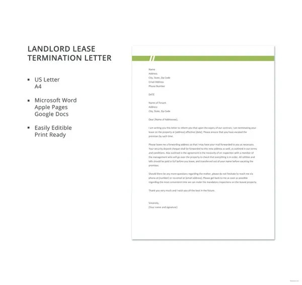 22+ Lease Termination Letter Templates - PDF, DOC Free  Premium - landlord lease termination letter