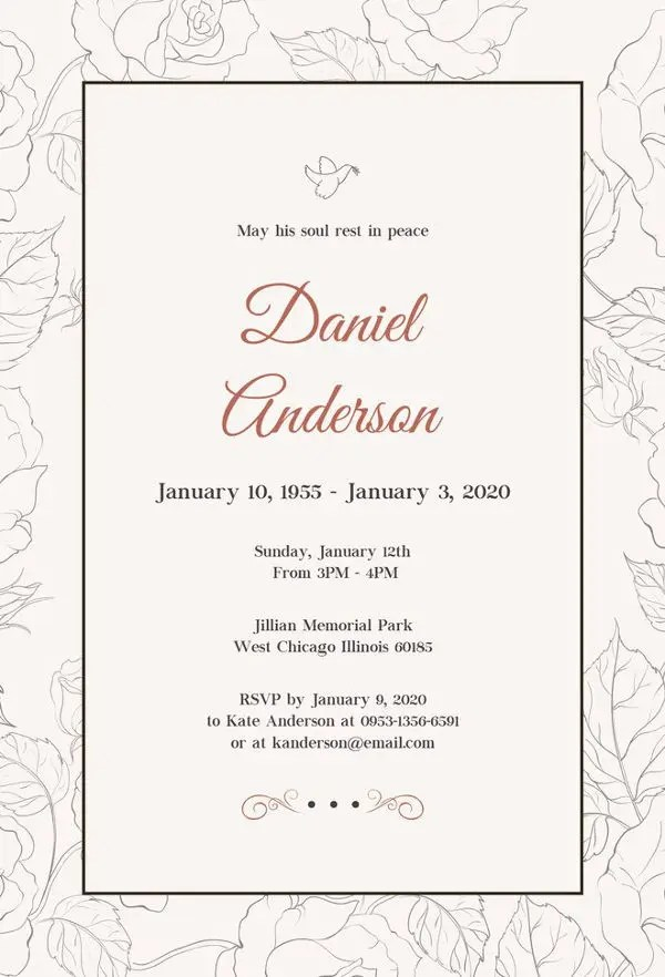 13+ Funeral Invitation Templates - Free PSD, Vector EPS, AI, Format