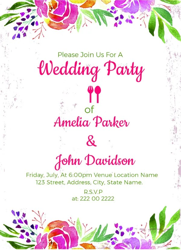 30+ Wedding Party Invitation Templates \u2013 Free Sample, Example Format