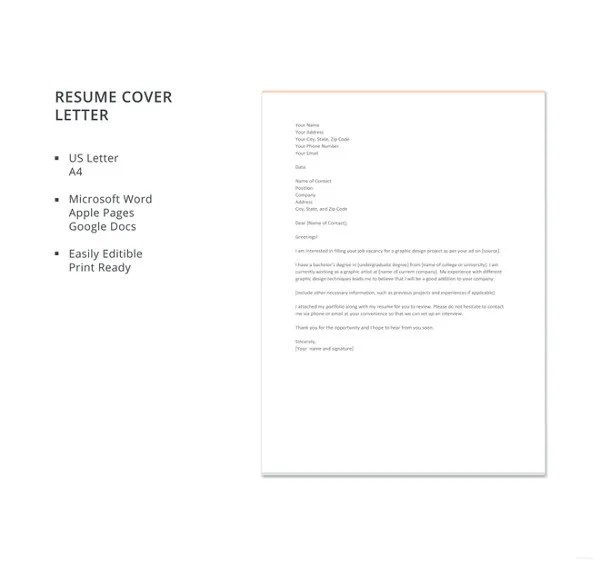 17+ Resume Cover Letter Templates \u2013 Free Sample, Example, Format - Free Resume Cover Letter Template
