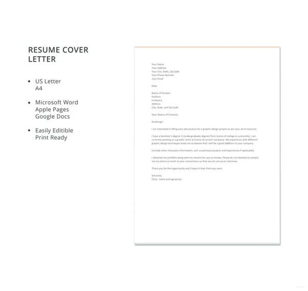 17+ Resume Cover Letter Templates \u2013 Free Sample, Example, Format - Free Resume Cover Letter Template