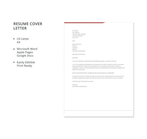Simple Cover Letter Template \u2013 20+ Free Word, PDF Documents Download - easy cover letter