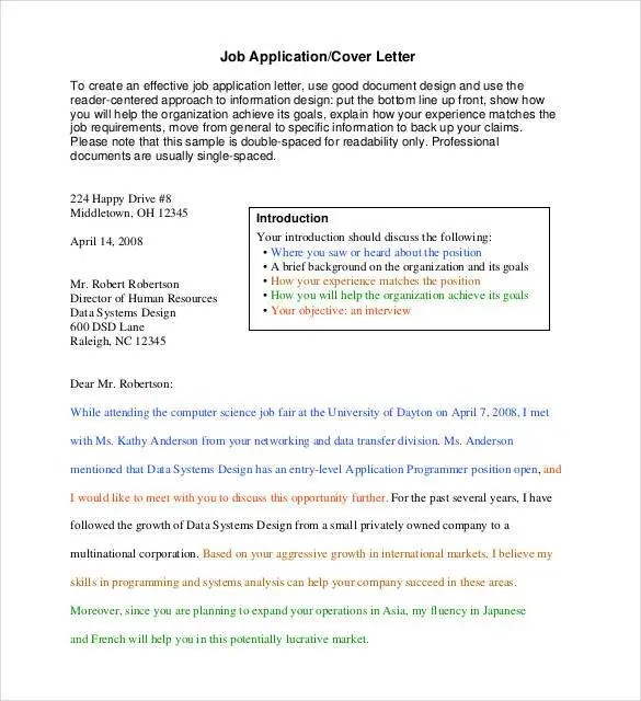 Simple Cover Letter Template - 36+ Free Sample, Example, Format - employment application cover letter