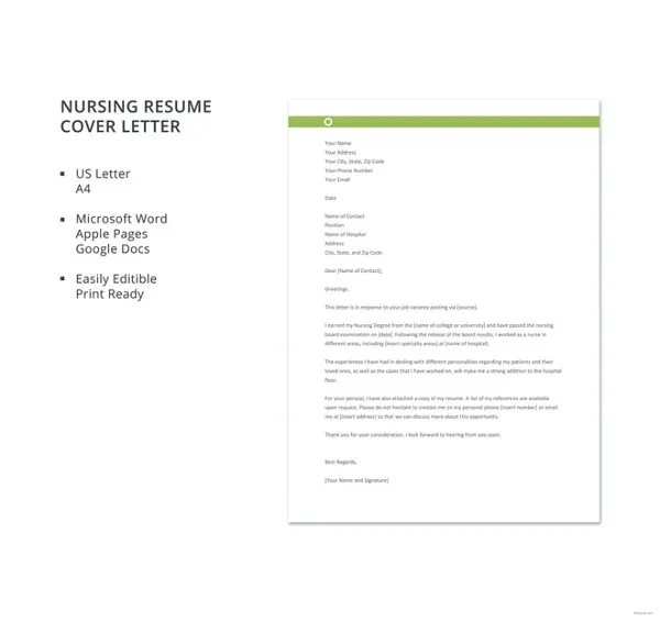 Nursing Cover Letter Template \u2013 8+ Free Word, PDF Documents Download