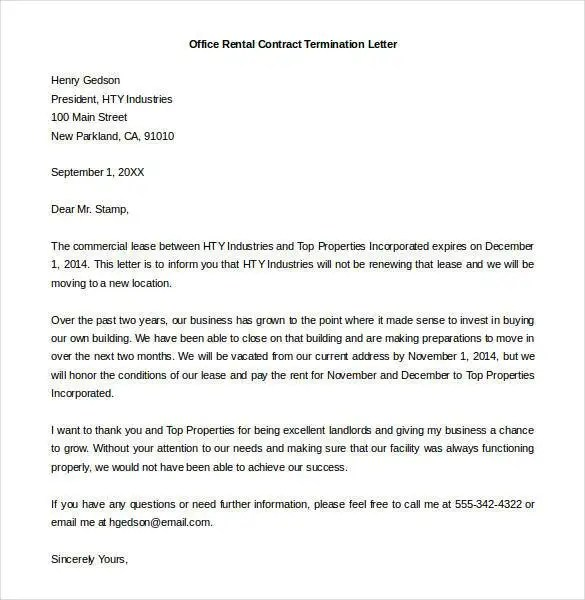 20+ Contract Termination Letter Templates - PDF, DOC Free - Letter To Rental Office