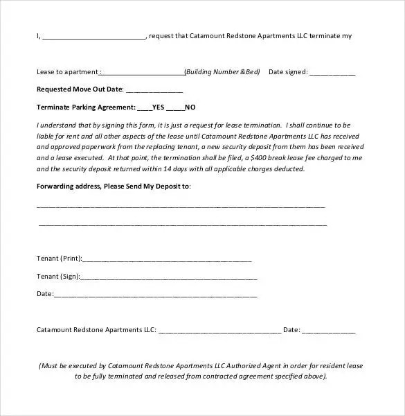 Lease Termination Letter Templates - 18+ Free Sample, Example - parking agreement template