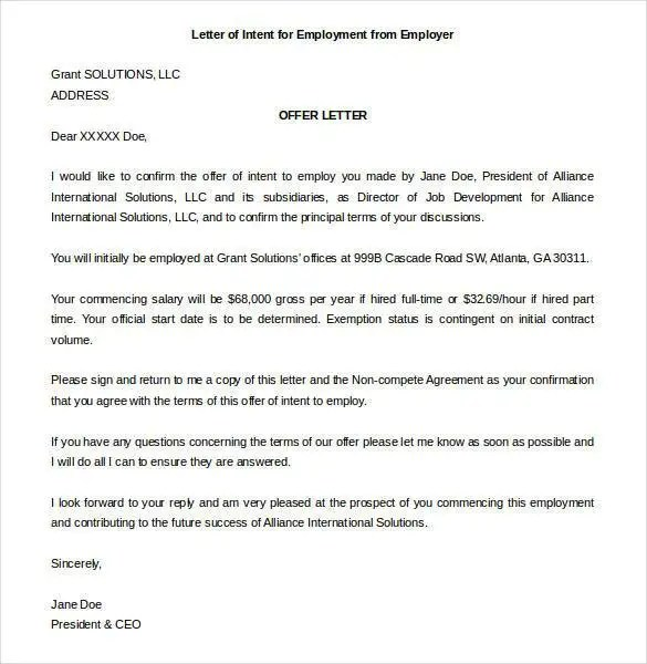 Letter of Intent for a Job Templates - 19+ Free Sample, Example - sample letters of intent