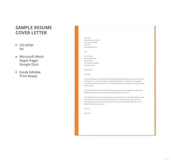 19+ Free Cover Letter Templates \u2013 Free Sample, Example, Format - Cover Letter Sample Resume