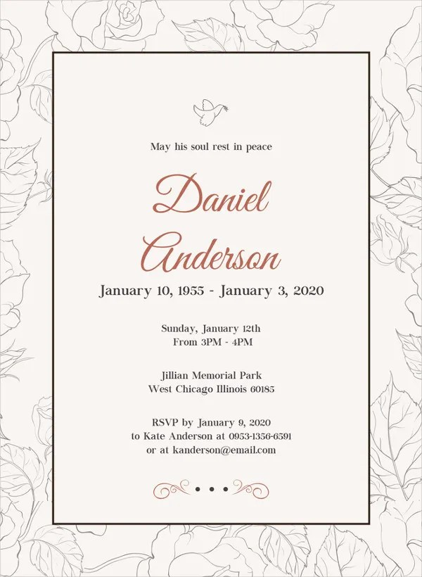 28+ Funeral Invitation Templates - Free Sample, Example, Format