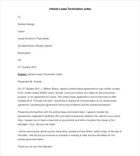 22+ Lease Termination Letter Templates - PDF, DOC Free  Premium - termination of lease letter templates