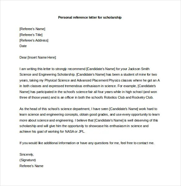 who to use as a personal reference - Onwebioinnovate - personal referral letter