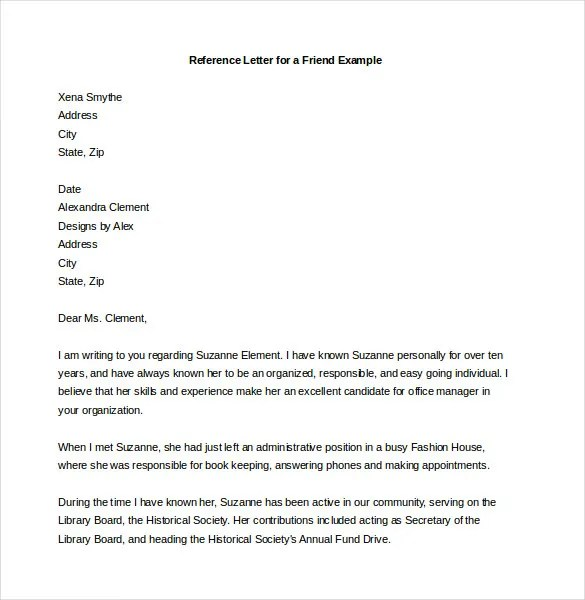 Reference Letter Template \u2013 27+ Free Word, Excel, PDF Documents
