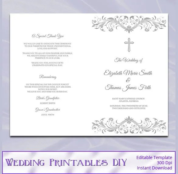 Trifold Wedding Program Template | Sample Customer Service Resume