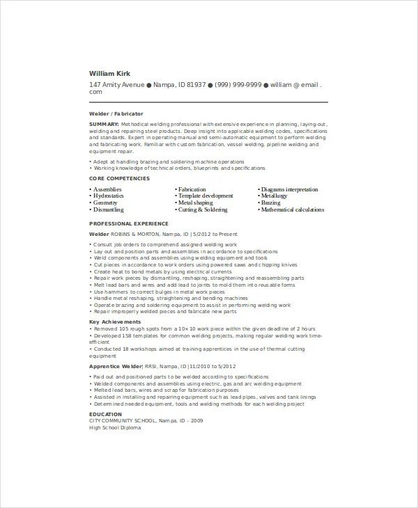 Welder Resume Template - 6+ Free Word, PDF Documents Download Free - pipeline welder sample resume