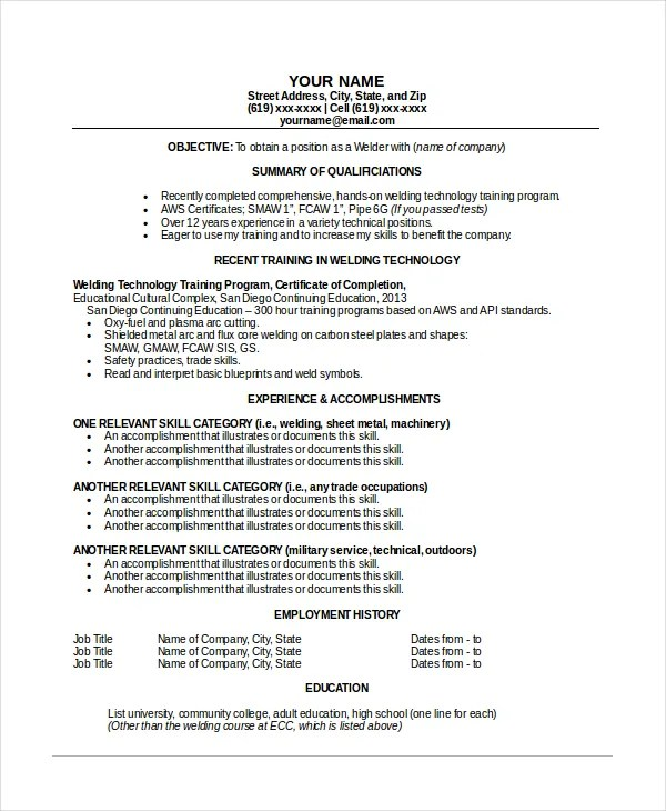 sample welder resumes - Onwebioinnovate - pipeline welder sample resume