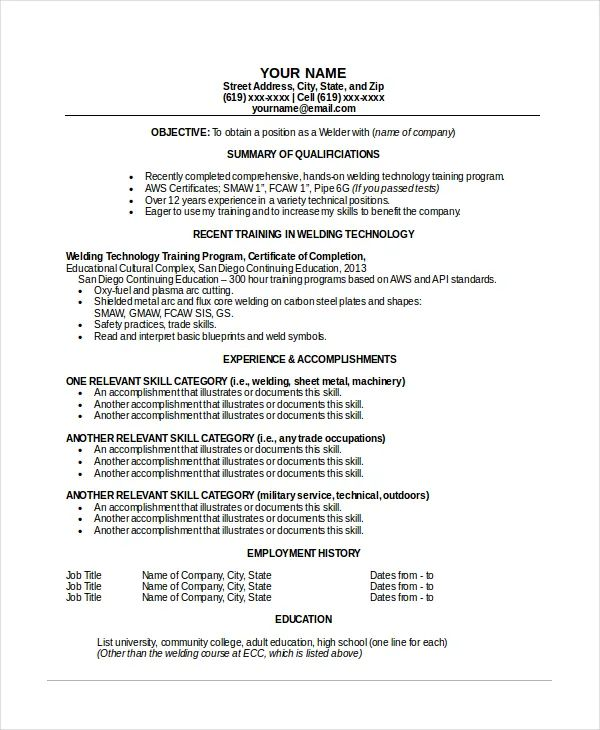 examples of welding resume