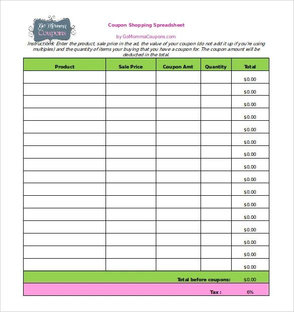 coupon excel spreadsheet template