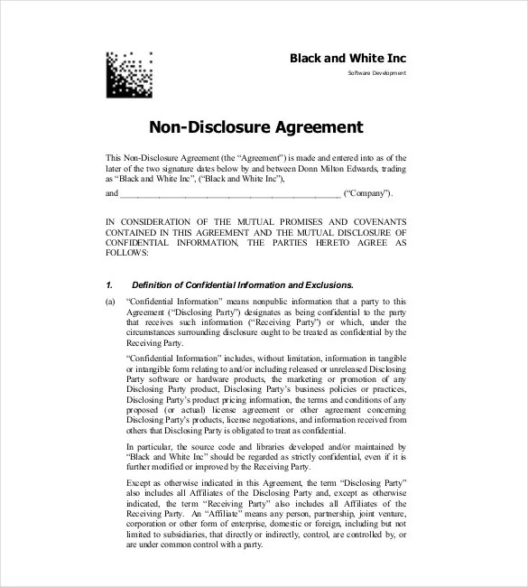 Non Disclosure Agreement Template \u2013 14+ Free Word, Excel, PDF