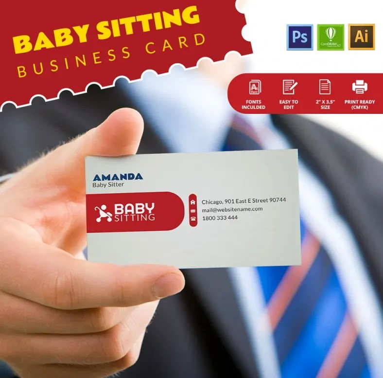 Baby Sitting Business Card Template Free  Premium Templates