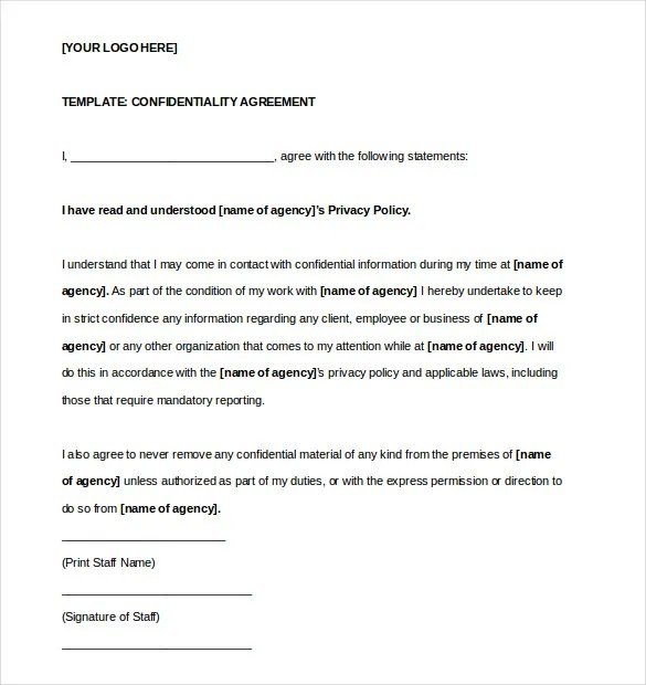 Confidentiality Agreement Template \u2013 15+ Free Word, Excel, PDF - free business contract templates for word