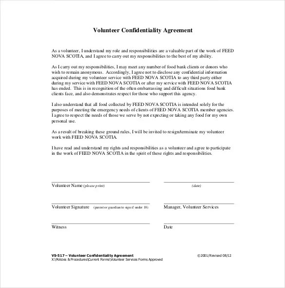 Confidentiality Agreement Template \u2013 15+ Free Word, Excel, PDF - confidentiality agreement free template