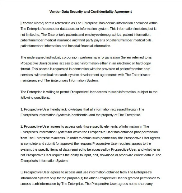 Confidentiality Agreement Template u2013 15+ Free Word, Excel, PDF - data confidentiality agreement