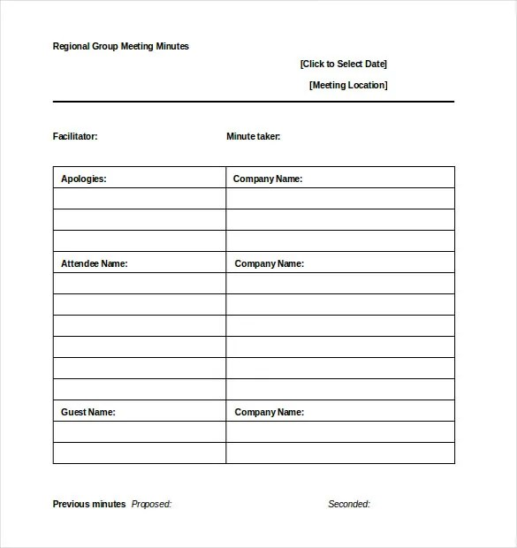 Minutes Template u2013 14+ Free Word, Excel, PDF Documents Download - meetings template
